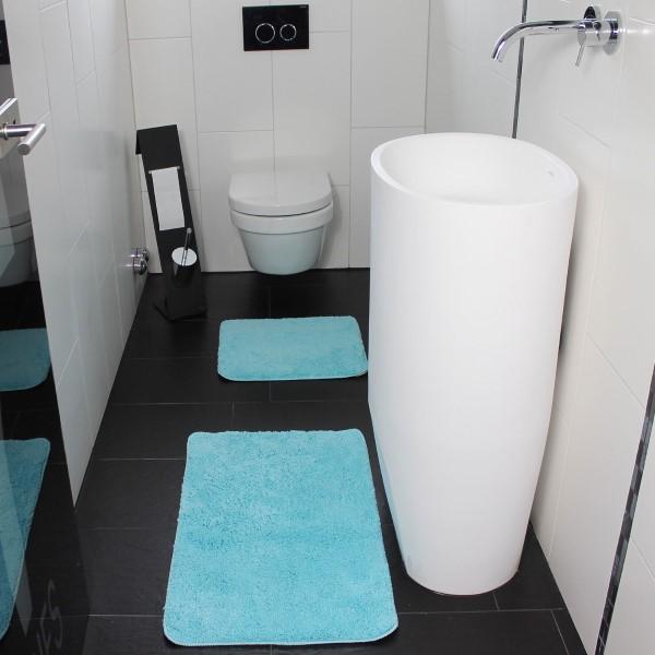proheim badematten 2er set 50x80cm und 45x50cm hochflor duschvorleger wohnen haushalt badematten. Black Bedroom Furniture Sets. Home Design Ideas