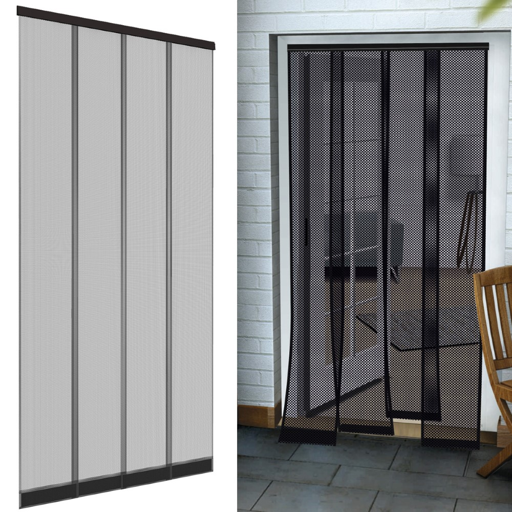 insektenschutz t r vorhang fiberglas anthrazit fliegengitter insektenvorhang ebay. Black Bedroom Furniture Sets. Home Design Ideas