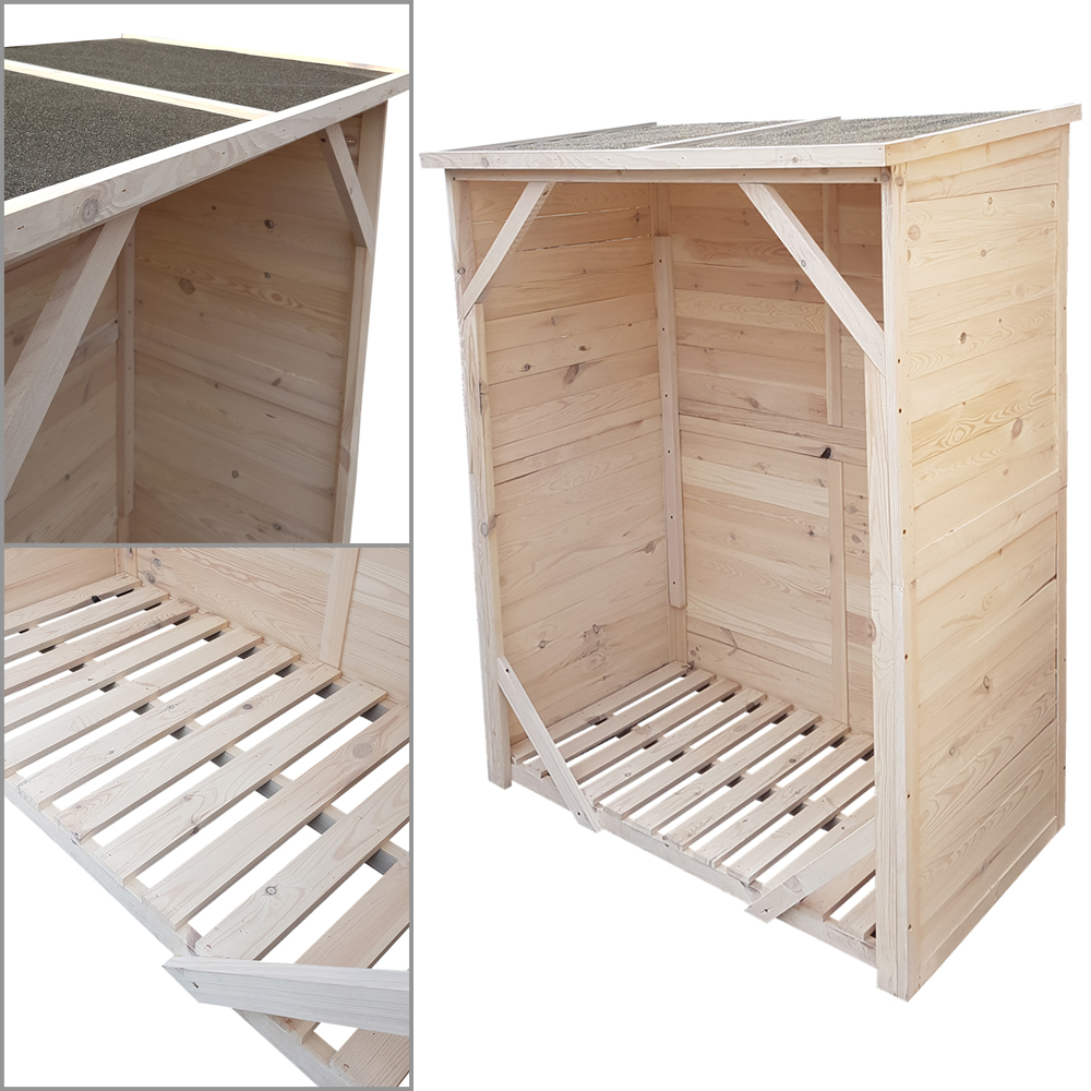 kaminholzregal mit r ckwand kaminholzunterstand brennholzregal unterstellplatz ebay. Black Bedroom Furniture Sets. Home Design Ideas